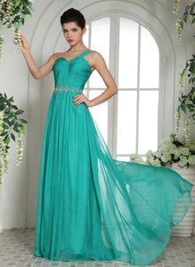 Beaded and Ruched One Shoulder Long Prom Court Dresses in Turquoise