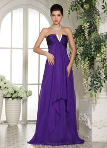 Eggplant Purple Empire Chiffon Prom Court Dresses with Slot Neckline