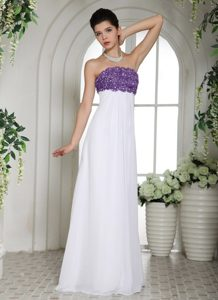 Lavender Appliques Accent White Strapless Long Prom Court Dresses