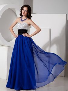 Beading Sash Accent Long Chiffon Dresses for Prom in Royal Blue