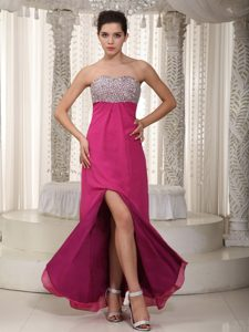Fuchsia Strapless Dresses for Prom Princess with Beading High Slit