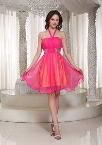 Beaded Halter Knee Length Dress for Prom Queen in Hot Pink 2014