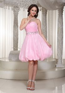 Ruched and Beaded Baby Pink Strapless Short Dress for Prom Queen