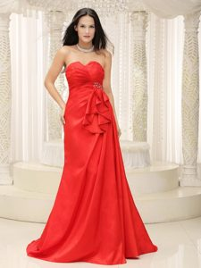 Brooch and Ruches Accent Red Brush Dress for Prom Queen for Cheap
