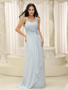 Chiffon Ruched Prom Dress with Straps and Hand Made Flowers