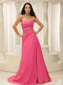 Rose Pink Sweetheart Ruched Brush Train Dress For Prom