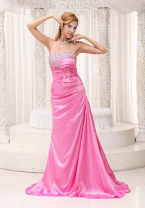 New Style Pink Brush Train Beaded Prom Gown with Ruching