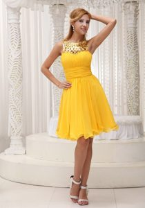 Discount Sequins and Chiffon Prom Dress with Ruched Bodice