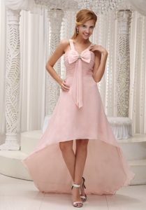 Light Pink High-low Ruched Chiffon Bowknot Prom Gown