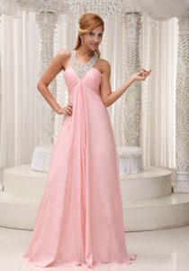 Beaded Scoop Neckline Bust Ruched Baby Pink Prom Dress