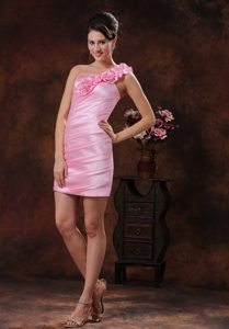 Parker Arizona Rose Pink Flowers Decorate Prom Dress 2014