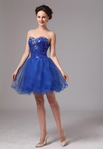 Pretty Royal Blue Sweetheart Beaded Mini-length Dress for Prom