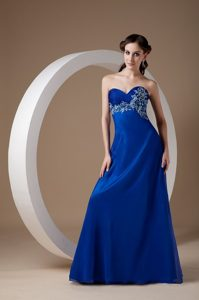 Anaheim CA Appliqued Long Prom Evening Dress in Royal Blue 2013