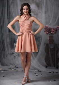 Latest Halter Mini-length Chiffon Prom Gown with Ruching