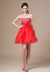 Red Mini-length Prom Gown with Beading and Hand Made Flower