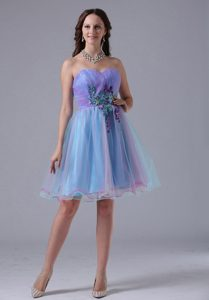Multi-color Sweetheart Short Prom Gown With Appliques and Ruching