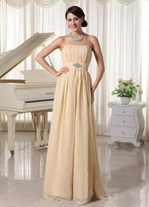 Discount Champagne Ruched Chiffon Dress for Prom with Beading