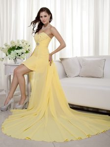 Yellow Sheath Sweetheart High-low Chiffon Beading Prom Gown