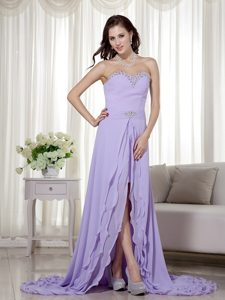 Lilac Detachable Sweetheart High-low Chiffon Prom Dress Brush Train