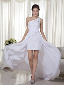 White One Shoulder High-low Chiffon Beading Prom Gown