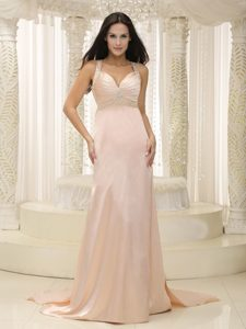 Charming Straps Elastic Woven Satin Ruched Prom Dress
