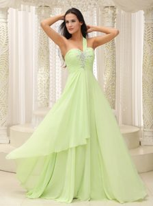 Yellow Green One Shoulder Sweetheart Chiffon Prom Gown