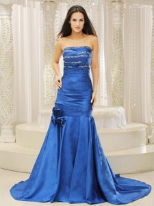 Mermaid Royal Blue Beaded Prom Dress with Court Train