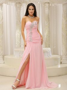 Elegant Sweetheart Ruched Pink Prom Dress with Slit on Sale