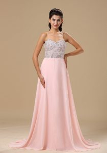 Gorgeous Pink Sweetheart Chiffon Brush Train Prom Dress