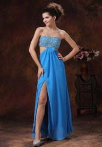 Discount Aqua Strapless Beaded Chiffon Prom Gown with Slit