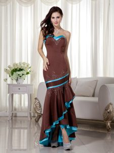 Brown and Blue Mermaid Sweetheart Satin Prom Dress