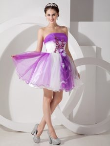 Cute Purple and White Strapless Prom Gown with Hand Made Flowers