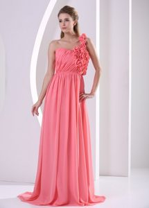 One Shoulder Watermelon Hand Made Flowers Prom Gown With Ruching