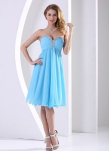 Aqua Blue Chiffon Sweetheart Beaded Knee-length Prom Dress