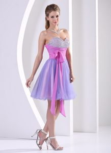 Beaded Sweetheart Lavender Knee-length Prom Dress With Sash
