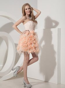 Sweetheart Mini-length Lace and Hand Made Flowers Prom Dress