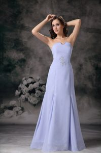 Cheap Lilac Column Strapless Floor-length Chiffon Beading