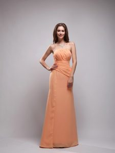 Discount Orange Column Strapless Chiffon Ruched Prom Dress