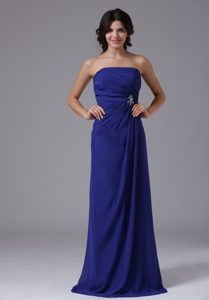 Elegant Strapless Ruched Chiffon Prom Gown with Beading