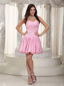 Pink Sweetheart Mini-length Taffeta Beading Prom Dress with Buble Skirt
