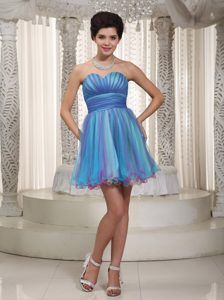 Multi Color A-line/Princess Sweetheart Mini-length Tulle Prom Dress