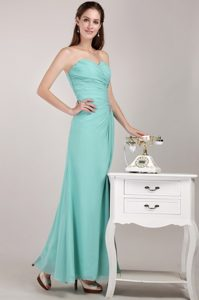 Mint Green Sweetheart Floor-length Chiffon Beading Prom Dress