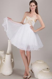 White and Gold A-line weetheart Knee-length Organza Prom Dress with Beading