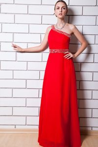 Beaded One Shoulder and Waist Red Chiffon Long Prom Evening Dress
