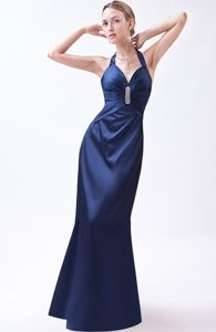 Navy Blue Column Halter Floor-length Taffeta Prom Dress with Beading