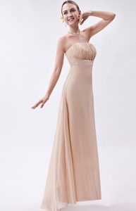 Simple Empire Strapless High-low Chiffon Ruch Prom Dress