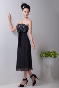 Alhambra CA Sash Accent Black Tea Length Chiffon Prom Evening Dress
