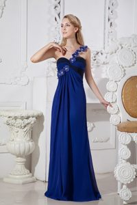 Royal Blue Column One Shoulder Chiffon Prom Dress with 3D Flowers