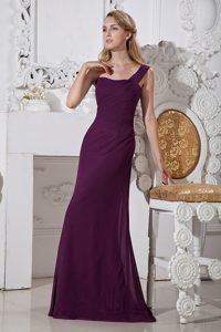 Grape Column One Shoulder Brush Train Chiffon Prom Gown