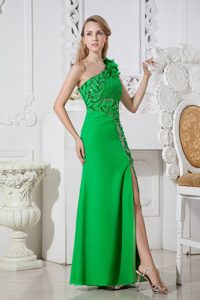 Green Flowery One Shoulder Prom Evening Dress with Beading and Ruches